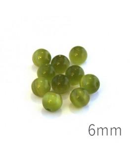 Perle oeil de chat 6mm vert olivine x10