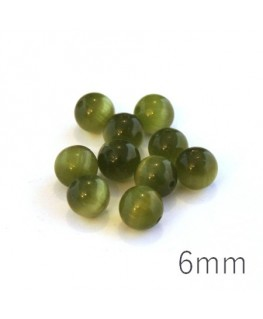 Perle oeil de chat 6mm vert kaki x10