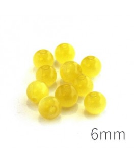 Perle oeil de chat 6mm jaune x10