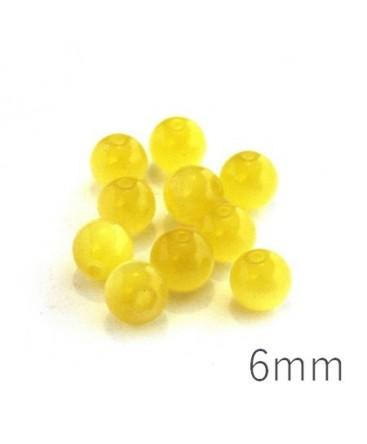 Perle oeil de chat 6mm jaune x10