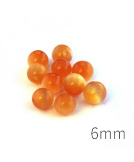Perle oeil de chat 6mm tangerine x10
