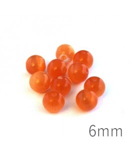 Perle oeil de chat 6mm orange x10