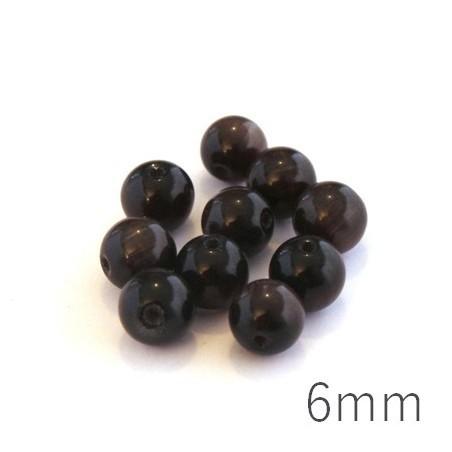 Perle oeil de chat 6mm chocolat x10