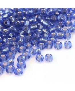 Perles de rocailles 4mm bleuet silver lined