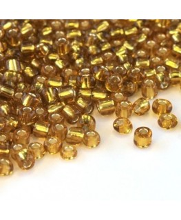 Perles de rocailles 4mm topaze silver lined