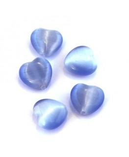 Perle oeil de chat coeur bleu clair x5