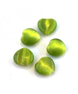 Perle oeil de chat coeur vert pomme x5