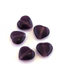 Perle oeil de chat coeur violet x5
