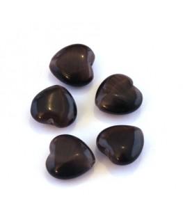 Perle oeil de chat coeur chocolat x5