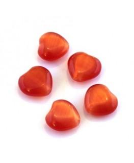 Perle oeil de chat coeur orange foncé x5