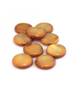 Perle palet en nacre 11mm caramel x15