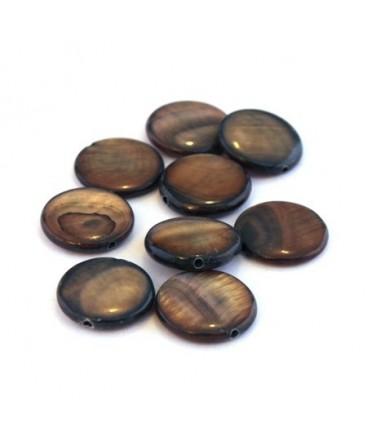 Perle palet en nacre 11mm brun x15