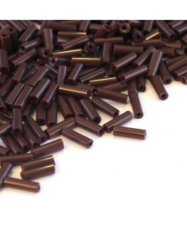 Perles rocailles tube marron opaque