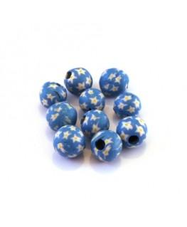 Perles fimo 6mm bleu x10