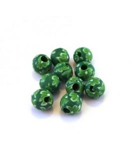 Perles fimo 6mm vert x10