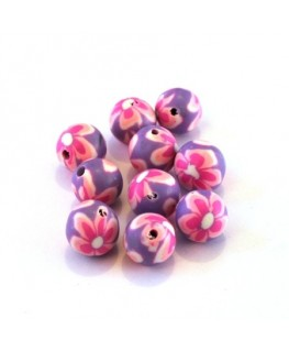 Perle fimo 8mm lilas  et rose x10