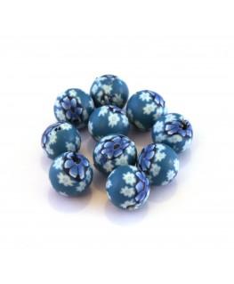 Perle fimo 8mm bleu x10
