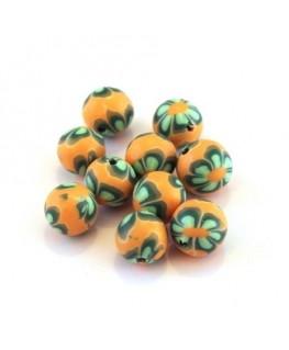 Perle fimo 8mm orange x10