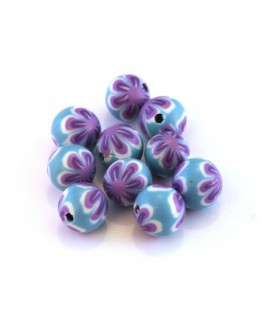 Perle fimo 8mm turquoise x10