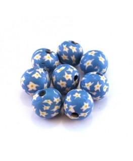 Perle fimo 10mm bleu clair x10