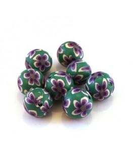 Perle fimo 10mm vert et violet x10