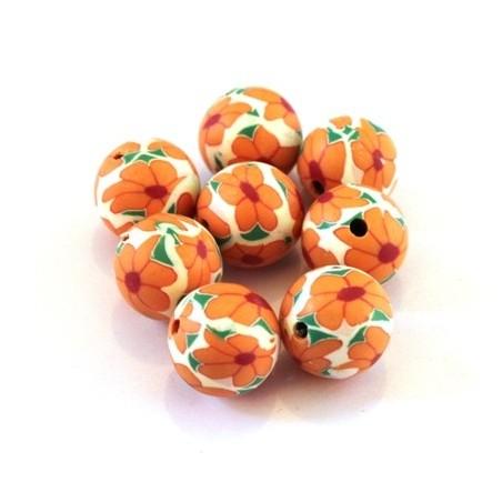 Perle fimo 10mm orange x10