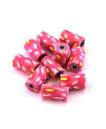 Perle fimo tube 10mm rose x10