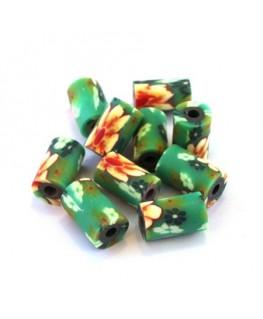 Perle fimo tube 10mm vert x10