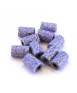 Perle fimo tube 11mm lilas x10