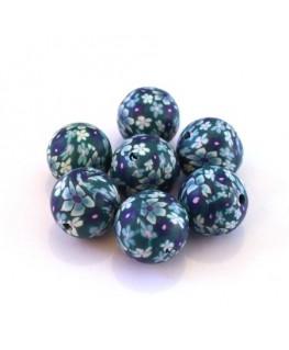 Perles fimo 12mm bleu et jade x10