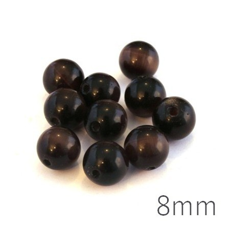 Perle oeil de chat 8mm marron chocolat x10