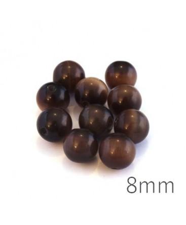 Perle oeil de chat 8mm marron x10