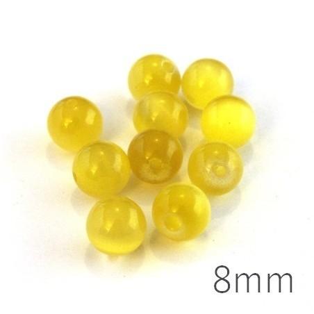 Perle oeil de chat 8mm jaune x10