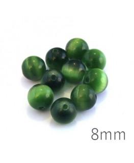 Perle oeil de chat 8mm vert émeraude x10