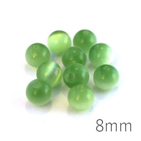 Perle oeil de chat 8mm vert chrysolite x10