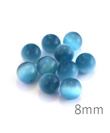 Perle oeil de chat 8mm turquoise foncé x10