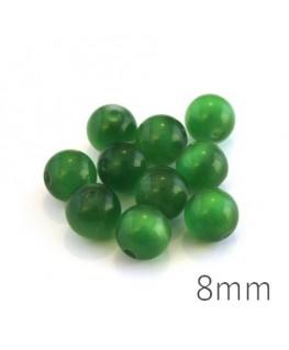 Perle oeil de chat 8mm vert x10