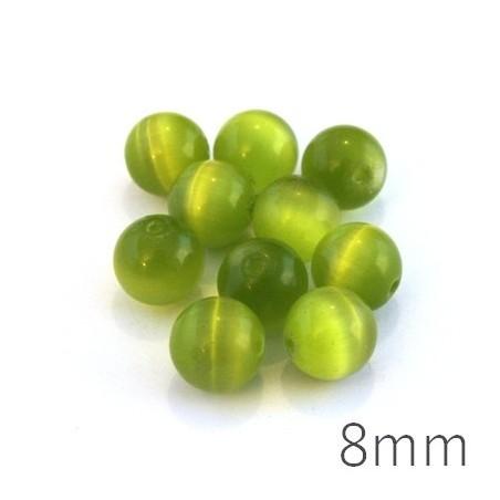 Perle oeil de chat 8mm vert pomme x10