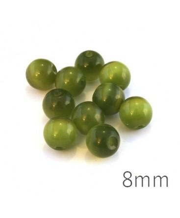 Perle oeil de chat 8mm vert olivine x10