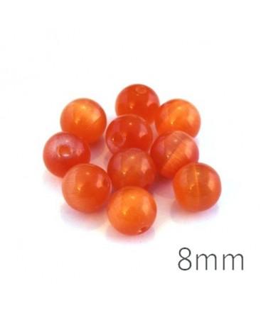 Perle oeil de chat 8mm orange x10