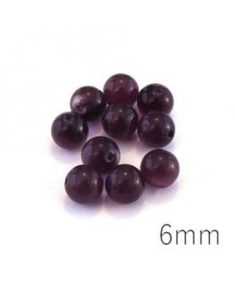 Perle oeil de chat 6mm violet x10