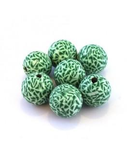 Perles fimo 14mm vert x10