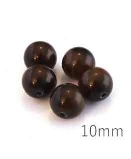 Perle oeil de chat 10mm marron chocolat x5