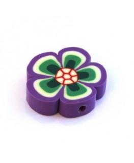 Perle fleur en fimo violet x1