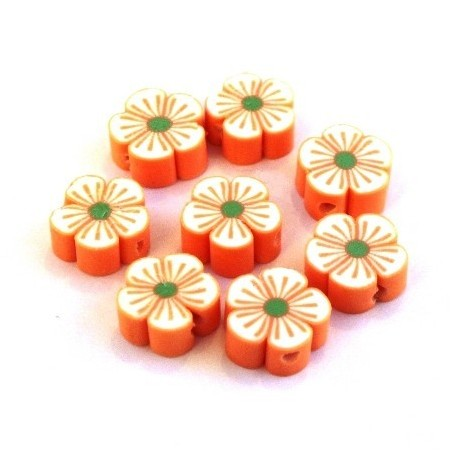 Perles fimo fleurs orange x10