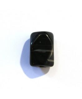 Perle rectangulaire taillée 12mm agate noir x1