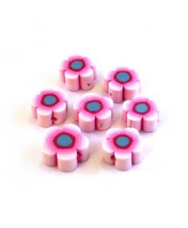 Perles fimo fleurs rose x10