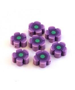 Perles fimo fleurs violet x10