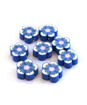 Perles fimo fleurs bleu x10