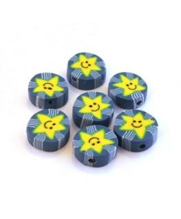Perles fimo palet bleu étoile x10